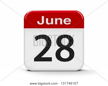 Calendar web button - The Twenty Eighth of June three-dimensional rendering 3D illustration