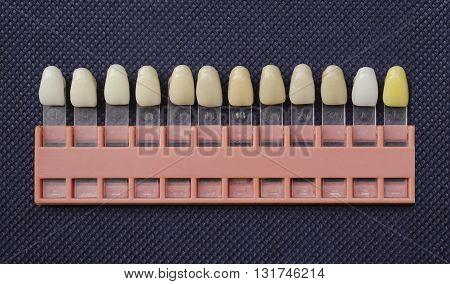 Plastic dental implant for choose color tone of teeth