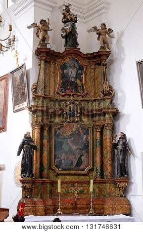 KOTARI, CROATIA - SEPTEMBER 16: Altar of Saint Anthony in the church of Saint Leonard of Noblac in Kotari, Croatia on September 16, 2015.