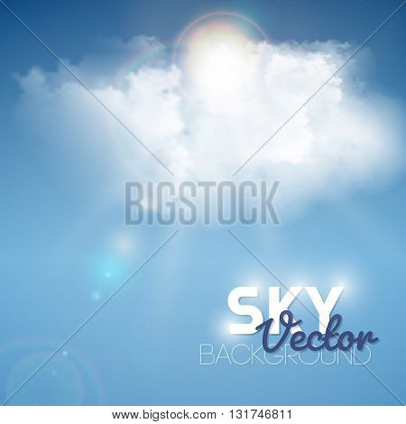 Realistic blue fluffy cloud with sun background. Vector illustration.