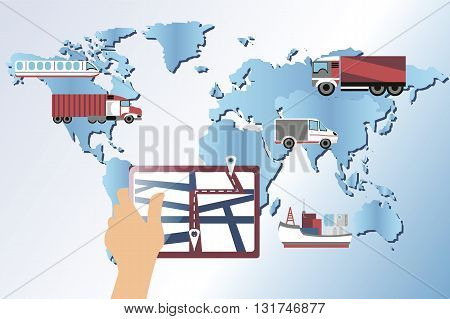 cargo tracking. Flat vector illustration. World map. A hand with a phone. global logistics