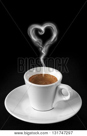 Hot coffee cup with steam and heart-shaped