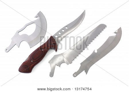 Knife With Wood Handle And Four Exchangeable Blades