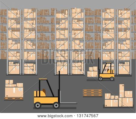 Vector warehouse icon. Warehouse load boxes and barrels to stacks using forklifts.