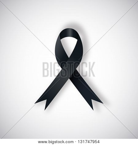 Vector Black awareness ribbon on light background. Mourning and melanoma support symbol.