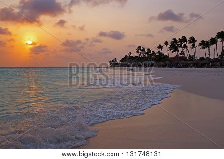 Sunset at Palm Beach on Aruba island in the Caribbean