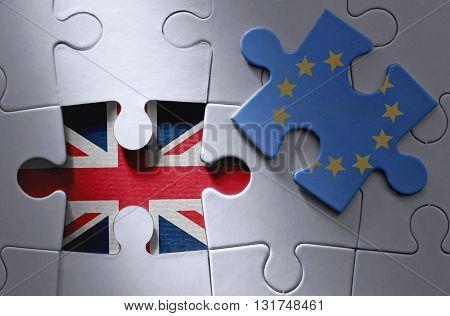 European flag jigsaw piece with British flag underneath