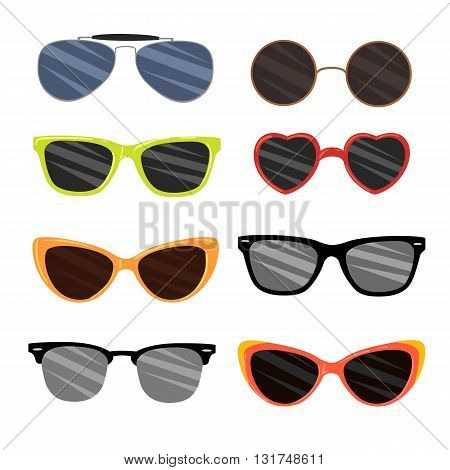 Vector Set Sunglasses set. Trendy sunglasses colors. Summer eyeglasses. Summer sun protection sunglasses realistic icons set isolated