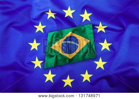 Flags of the Brasil and the European Union. Brasil Flag and EU Flag. Brasilian Flag inside stars. World flag concept.