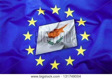 Flags of the Cyprus and the European Union. Cyprus Flag and EU Flag. Flag inside stars. World flag money concept.