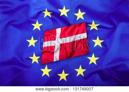 Flags of the Denmark and the European Union. Denmark Flag and EU Flag. Flag inside stars. World flag money concept.