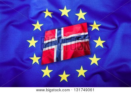 Flags of the Norway and the European Union. Norway Flag and EU Flag. Flag inside stars. World flag concept.