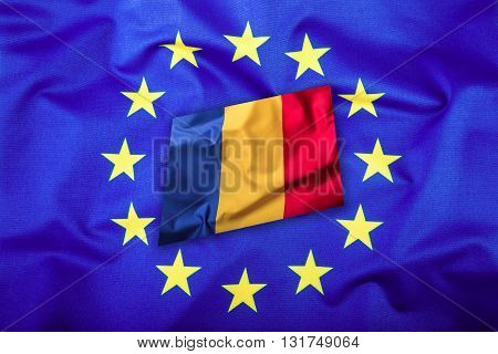 Flags of the Romania and the European Union. Romanian Flag and EU Flag. Flag inside stars. World flag concept.