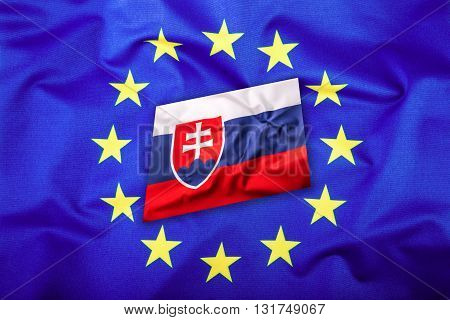 Flags of the Slovak republic and the European Union. Slovakia Flag and EU Flag. Flag inside stars. World flag concept.