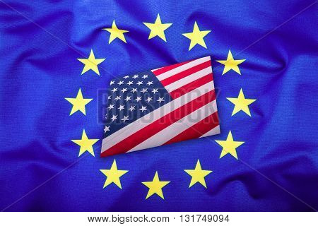 Flags of the USA and the European Union. American Flag and EU Flag. Flag inside stars. World flag concept.