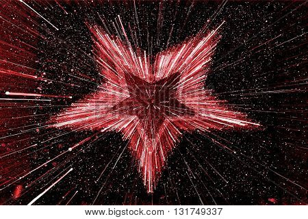 SPEED EFFECT , BLURRY RED STAR ON BLACK BACKGROUND