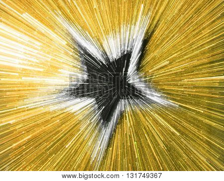 SPEED EFFECT , BLURRY STAR ON GOLD BACKGROUND