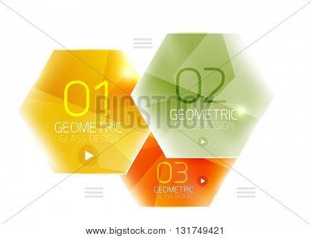 Hexagon option infographics. Vector universal design template