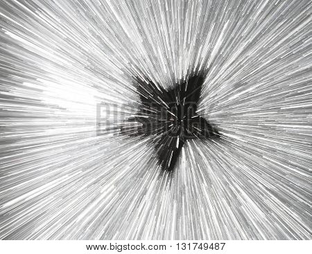 ABSTRACT SPEED EFFECT BLACK STAR ON  SILVER BACKGROUND