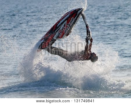 FAZANA, CROATIA - MAY 21, 2016: Competition Jetski Freestyle Alpe Adria Jet Ski Tour - First race of Croatian aquabike championship 2016. in Fazana Croatia.