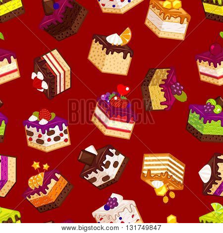 Seamless pattern with pieces of cakes. Vector decorative paper with slices of cakes in flat modern style.