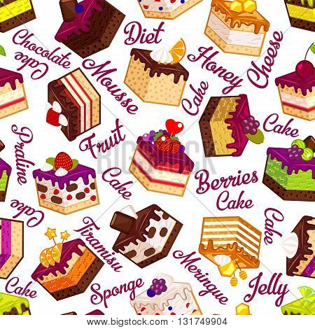 Seamless pattern with pieces of cakes and typography design of cake names. Vector decorative paper with slices of cakes in flat modern style at white background.