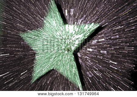 ABSTRACT SPEED EFFECT GREEN STAR ON GREY BACKGROUND