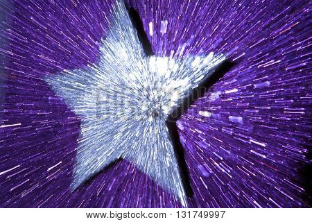 ABSTRACT SPEED EFFECT SILVER STAR ON DEEP PURPLE BACKGROUND