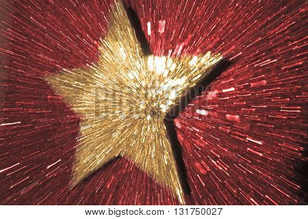 ABSTRACT SPEED EFFECT GOLD STAR ON RED  BACKGROUND