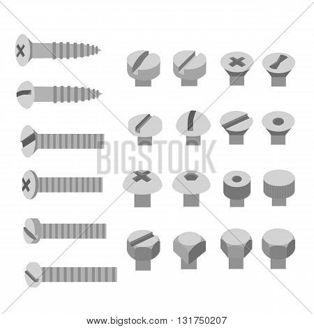 Screws and nuts set. Socket hexagon head bolts nut and washers. Illustration in the flat style