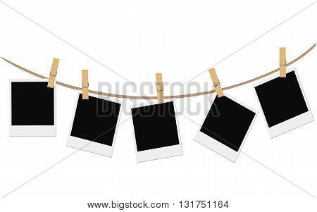 Empty photo frames on white background Vector illustration of blank retro photoframe Decorative template frame design