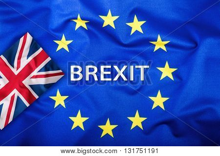 Brexit. Brexit Yes. Brexit No. Flags of the United Kingdom and the European Union. UK Flag and EU Flag. British Union Jack flag. Flag outside stars. England appearances in the European Union.