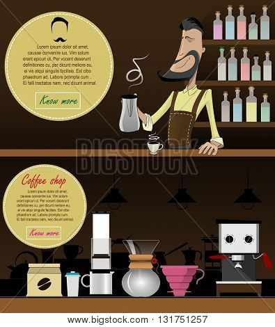 Cartoon smiling barista in apron making coffee . Character vector illustration.