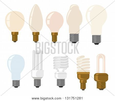 Light bulb icons - vector illustration collection Flat style color vector symbols isolated on white