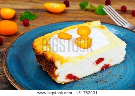 Delicious Baked Cottage Cheese Casserole. Studio Photo