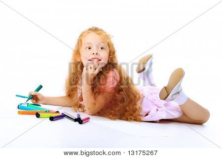 Portrait of a happy girl with felt pens. Isolated over white background.