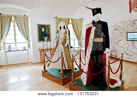 Mukachevo,ukraine - April 11,2016: Royal Attire Clothes And Dress On A Mannequin  At Palanok Castle