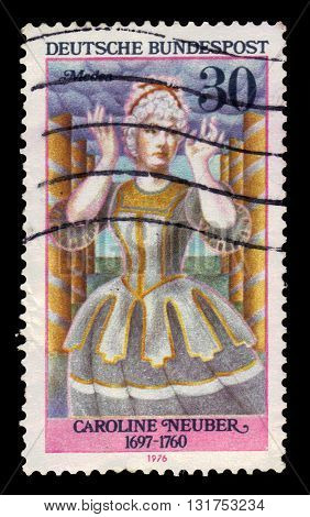 GERMANY - CIRCA 1976: a stamp printed in Germany shows german actress and theatre director Caroline Neuber as Medea, circa 1976