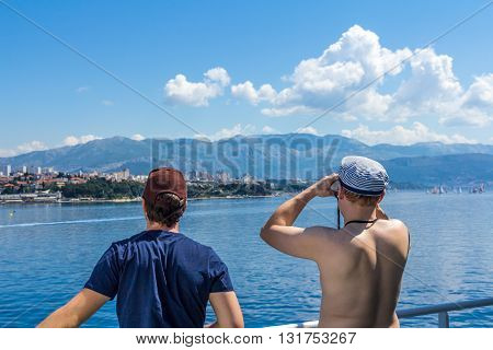 Split Croatia - May 07 2016: tourists looking at the Croatian coast near Split