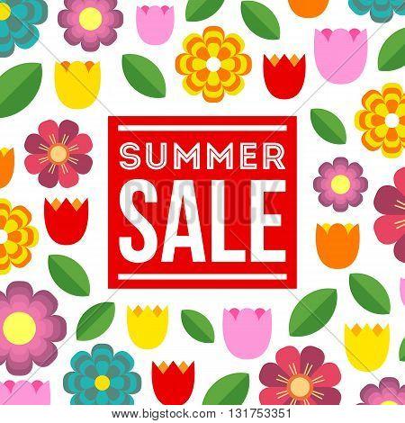 Summer Sale. Vector summer concept with flower background. Colorful summer illustration.