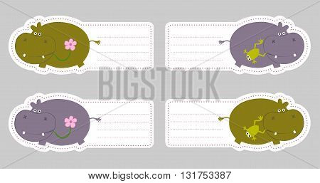 Set of four cute blank card with behemoths in cartoon style