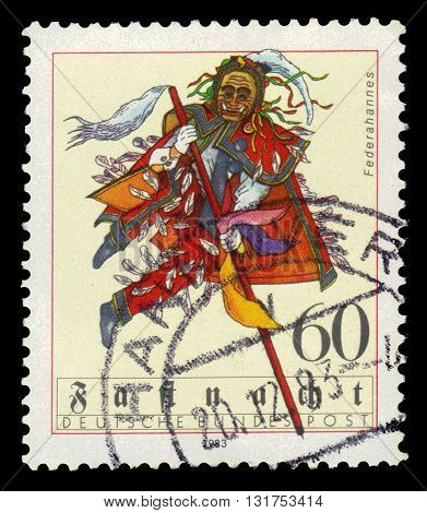GERMANY - CIRCA 1983: a stamp printed in the Germany shows federahannes, swabian-alemannic carnival, circa 1983