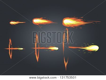 Vector effect. Effect for game. Explode effect animation. Cartoon explosion frames