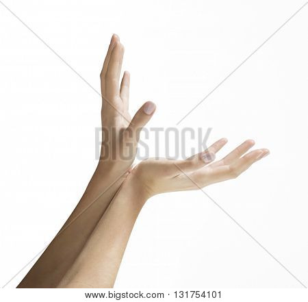 OPEN HANDS WITH JOINED WRISTS , ISOLATED ON WHITE BACKGROUND