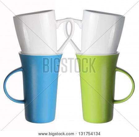 Stacks of Cups on Isolated White Background