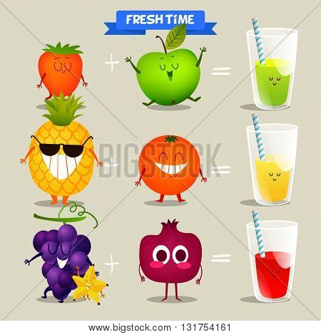 A set of cute fruit. Illustration with funny characters. Love and hearts. Funny food. time fresh. Various kinds of fresh juices.