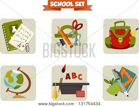 Back to school.  illustration of school things. Vector Illustration of school. Icons with school supplies.