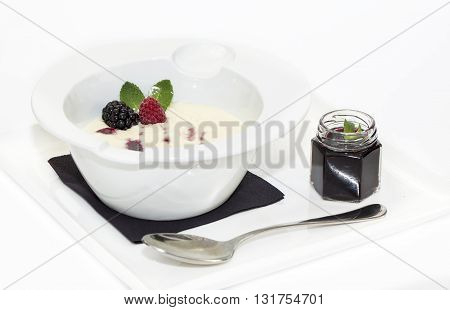 semolina with jam on a white background in the restaurant