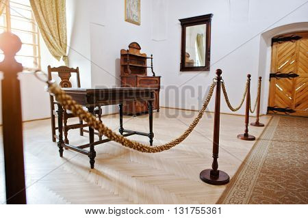 Mukachevo,ukraine - April 11,2016: Museum Wooden Barricade Fence Barrier