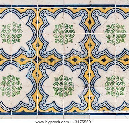 Colorful Moroccan Portuguese tiles Azulejo ornaments. Can be used for poster web design